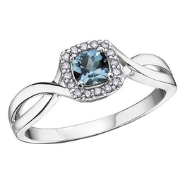 10K White Gold Blue Topaz and Diamond December Birthstone Ring
