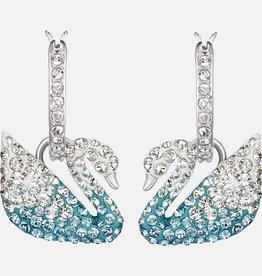 Swarovski Swarovski Iconic Swan Earrings, White, Rhodium Plated