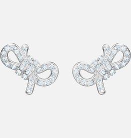 Swarovski Swarovski Lifelong Bow Earrings, White, Rhodium Plated