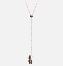 Swarovski Swarovski Naughty Y Necklace, Black, Rose Gold Plated