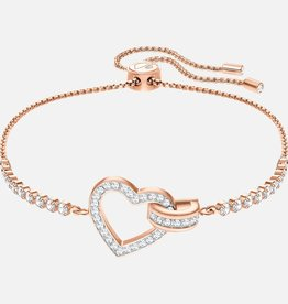 Swarovski Swarovski Lovely Bracelet, White, Rose Gold Plated