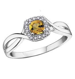 10K White Gold Citrine and Diamond November Birthstone Ring