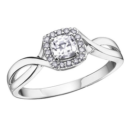 White Gold White Topaz and Diamond April Birthstone Ring