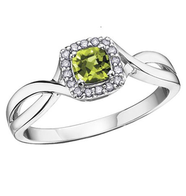 White Gold Peridot and Diamond August Birthstone Ring