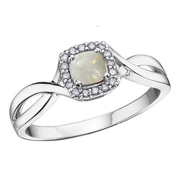 10K White Gold Opal and Diamond October Birthstone Ring
