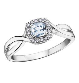 10K White Gold Aquamarine and Diamond March Birthstone Ring