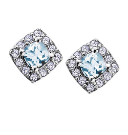 White Gold Aquamarine and Diamond March Birthstone Earrings