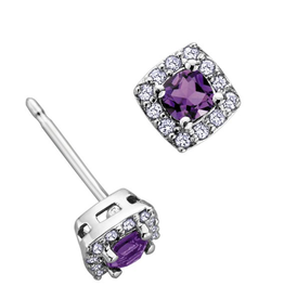 White Gold Amethyst and Diamond February Birthstone Earrings