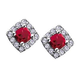 White Gold Ruby and Diamond July Birthstone Earrings
