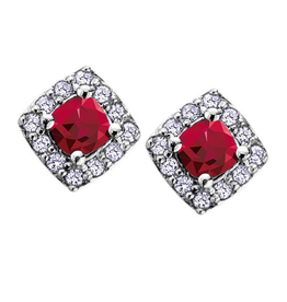 White Gold Garnet and Diamond January Birthstone Earrings