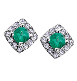 White Gold Emerald and Diamond May Birthstone Earrings