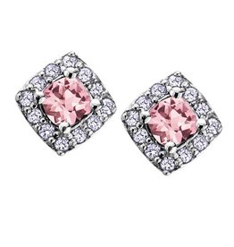 White Gold Pink Topaz and Diamond June Birthstone Earrings