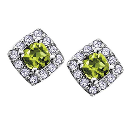 White Gold Peridot and Diamond August Birthstone Earrings