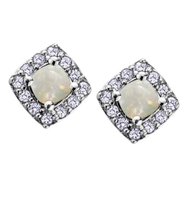 White Gold Opal and Diamond October Birthstone Earrings