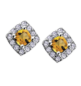 White Gold Citrine and Diamond November Birthstone Earrings
