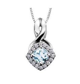 White Gold Aquamarine and Diamond March Birthstone Pendant