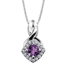 White Gold Amethyst and Diamond February Birthstone Pendant