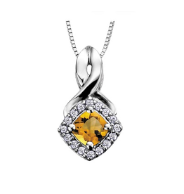 White Gold Citrine and Diamond November Birthstone Pendant