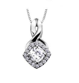 White Gold White Topaz and Diamond April Birthstone Pendant