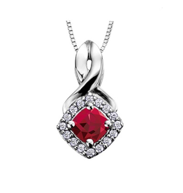 White Gold Garnet and Diamond January Birthstone Pendant