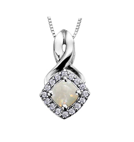 White Gold Opal and Diamond October Birthstone Pendant
