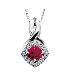 White Gold Ruby and Diamond July Birthstone Pendant