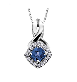 White Gold Sapphire and Diamond September Birthstone Pendant