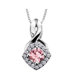 White Gold Pink Topaz and Diamond June Birthstone Pendant