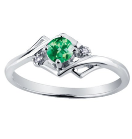 White Gold Emerald and Diamond May Birthstone Ring