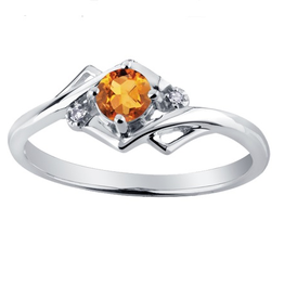 White Gold Citrine and Diamond November Birthstone Ring
