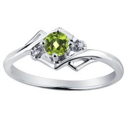 White Gold Peridot and Diamond August Birthstone Ring
