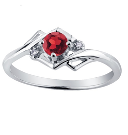 January Birthstone Garnet and Diamond 10K White Gold Ring