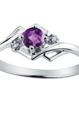 White Gold Amethyst and Diamond February Birthstone Ring