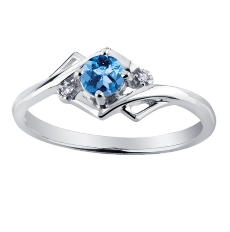 White Gold Blue Topaz and Diamond December Birthstone Ring