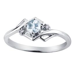 White Gold Aquamarine and Diamond March Birthstone Ring