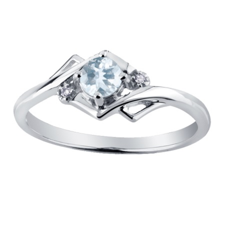 White Gold Aquamarine and Diamond March Birthstone Ring