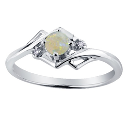 10K White Gold (October) Opal and Diamond Ring