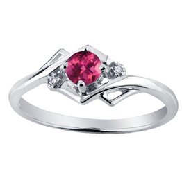 White Gold Pink Topaz and Diamond June Birthstone Ring