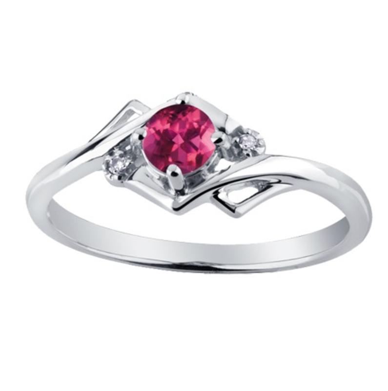 White Gold Pink Topaz and Diamond June Birthstone Ring
