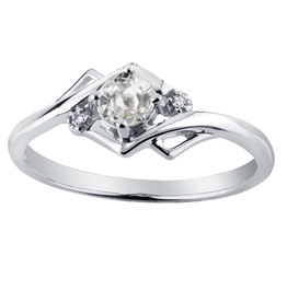 10K White Gold (April) White Topaz and Diamond Ring