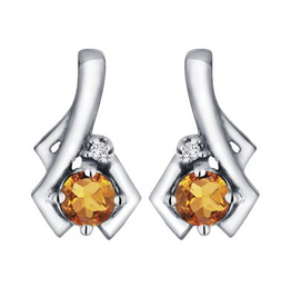 White Gold Citrine and Diamond November Birthstone Earrings