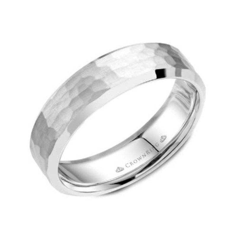 Crown Ring Crown Ring Sterling Silver 6mm Hammered Wedding Band