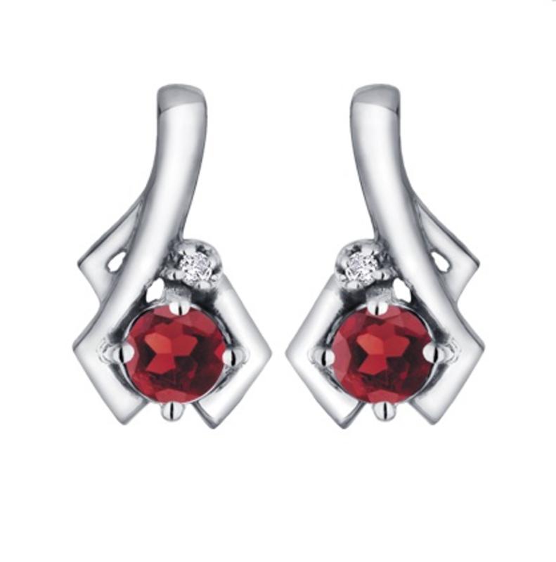 White Gold Garnet and Diamond January Birthstone Earrings