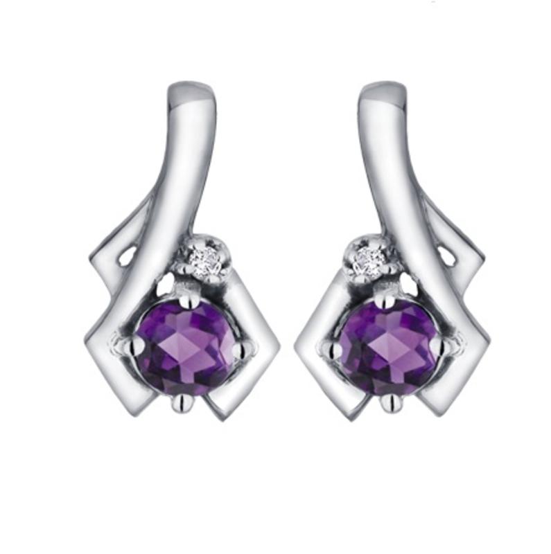 White Gold Amethyst and Diamond February Birthstone Earrings
