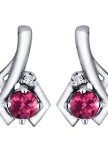 White Gold Pink Topaz and Diamond June Birthstone Earrings