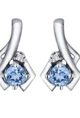 White Gold Blue Topaz and Diamond December Birthstone Earrings