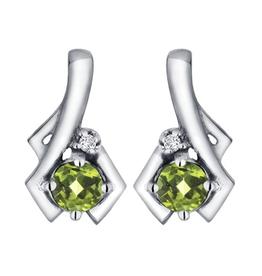 White Gold Peridot and Diamond August Birthstone Earrings