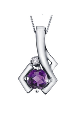 White Gold Amethyst and Diamond February Birthstone Pendant