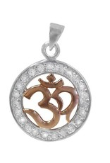 Sterling Silver Om Yoga Rhodium and Rose Gold Plated Pendant