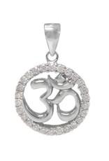 Sterling Silver Om Yoga Rhodium Plated CZ Pendant